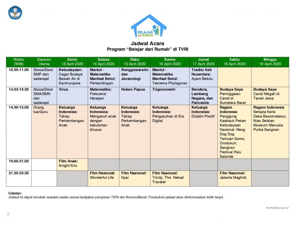 """TVRI, """"Belajar dari Rumah"""" dan Jadwal lengkap 13-17 April 1"""
