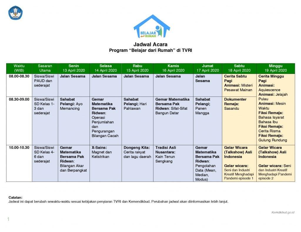 """TVRI, """"Belajar dari Rumah"""" dan Jadwal lengkap 13-17 April 2"""